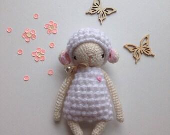 White lamb, soft amigurumi toy, handmade crocheted sheep, children toy