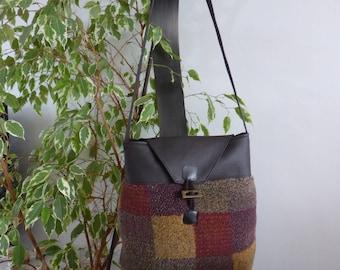 Handbag faux leather bi-material and fleece