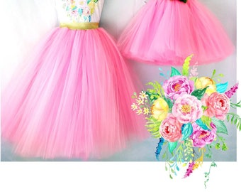 """Mother Daughter Matching Dress  Hot Pink Tulle Skirts mommy and me set tutu skirts, """"Chelsea"""". Bridal flower girl bridesmaid skirts."""