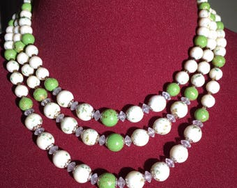 Vintage Beaded 3 Strand Choker Necklace - Green & Cream Beads + Crystals, Made in Japan