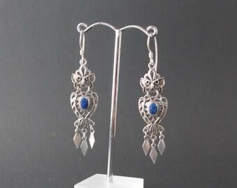 Owl Sterling Silver Lapis Lazuli Earrings
