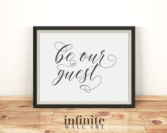 Be our guest sign Guest room decor Rustic wall decor Guest bedroom decor Guest room sign Printable wall art decor Rustic dorm decor