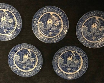 Vintage 1940s - Set of 5 Blue Willow Scenic Small Dessert Plates - Made in Japan