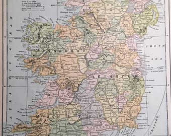 Vintage Map of Ireland c. 1905