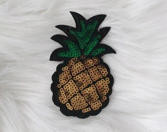 Pineapple with sequins DIY Iron-on Embroidered Patch!