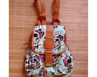 Skull backpack, Backpack skulls punk emo beach