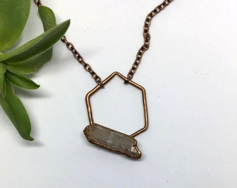 Hexagon Necklace, Geometric Necklace, Copper Necklace, Geometric jewelry, Copper Crystal Necklace, Crystal Jewelry, Crystal Necklace