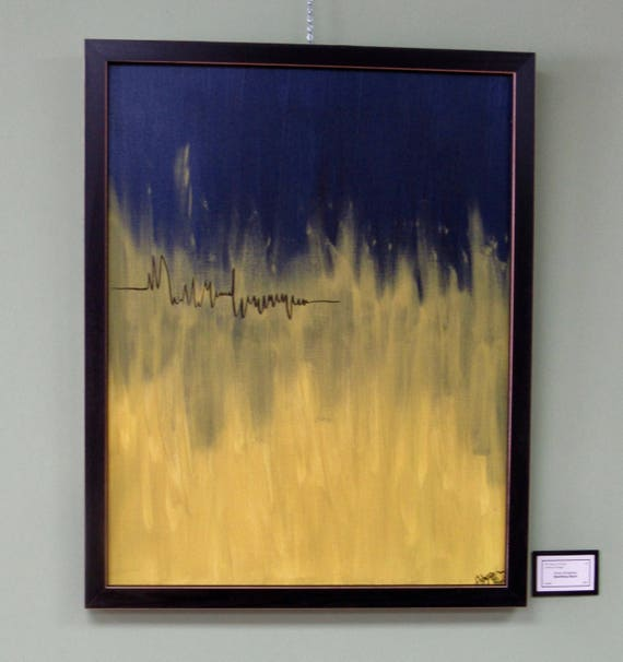 "Framed Abstract Painting ""Sparking Heart"""