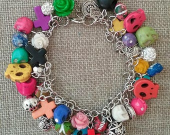 Day of the Dead Multi Colored Beaded Charm Bracelet, Dia de los Muertos Beaded Charm Bracelet, Sugar Skull Charm Bracelet, Mexican Bracelet