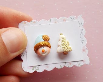 Christmas earrings Snowman stud earrings Xmas gift Secret Santa gifts Holiday earrings White Christmas