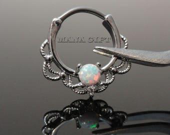 White Opal Septum / Daith Clicker Piercing, Silver Lacey Opal Septum Clicker Ring, 16 Gauge, H 42