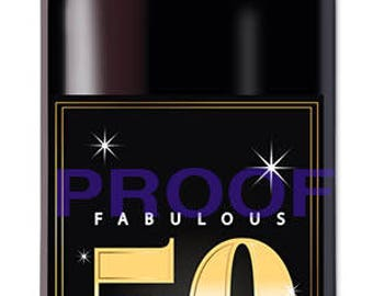 Instant Download Fabulous 50th Birthday Wine Label - Cheers to 50