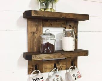 Wooden Kitchen Shelf, Rustic Kitchen Shelf, Wooden Coffee Mug Rack, Rustic  Coffee Mug