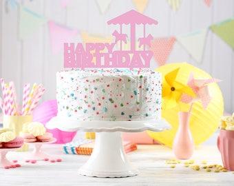 Carousel cake Topper, Customizable carousel Cake Topper, Carousel Party, Carousel Decorations, kids birthday decorations, carousel topper