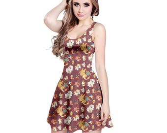 Fire Pokemon Dress - Skater Dress Fire Type Pokemon Dress Charmander Torchic Arcanine Fennekin Flareon Litten Ponyta Plus Size Dress Cosplay