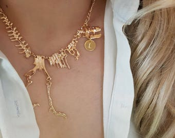 Delicate initial Dinosaur Necklace, T Rex Necklace, Dinosaur necklaces,initial necklace,Layering necklace,,Bridesmaid Gift, valued gift