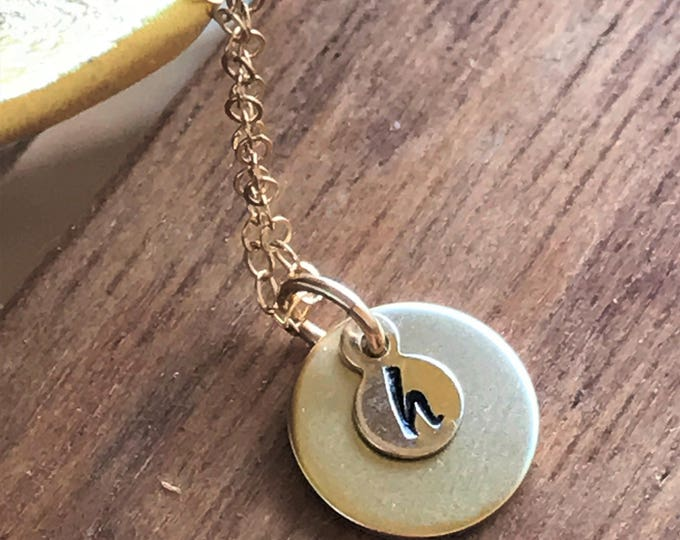 Dainty Disk Custom Initial Necklace, Tiny Initial Necklace for Her, Christmas Gifts 2018, Dainty Disk, Gold Custom Necklace Gift