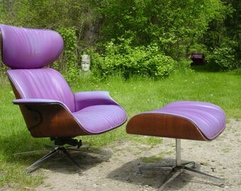 Vintage 1960s chair,  Eames lounge chair,  60s chair & ottoman, Plycraft Mulhauser, mid century modern chair