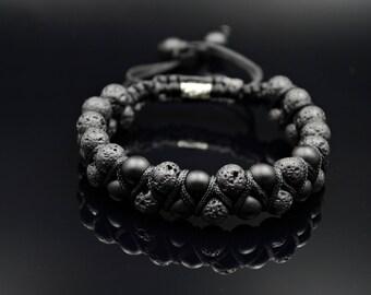 Men's Double Bracelet Shamballa Bracelet Lava Stone Bracelet Gemstone Bracelet Onyx Bracelet Macrame Bracelet Beaded Bracelet Black Bracelet