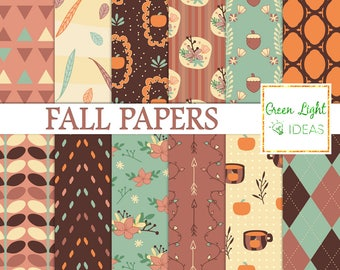 Fall Digital Papers, Fall Scrapbook Papers, Autumn Digital Papers, Autumn Backgrounds, Thanksgiving Scrapbook Papers, Pumpkins, Leaves Paper