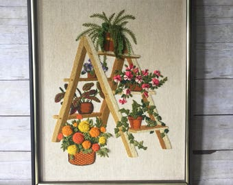 Plant Ladder Crewel Embroidery - Vintage Boho Wall Art Wall Hanging