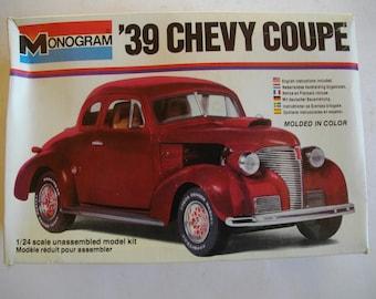 Monogram '39 Chevy Coupe. 1/24 Scale Plastic Model Kit. 1979. #2256.