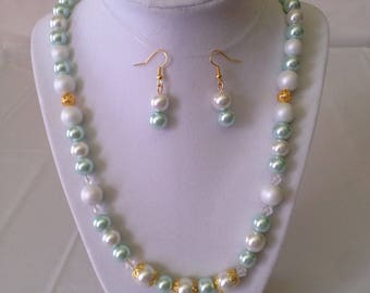 Mint Necklace Earring Set
