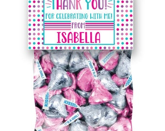 Girls Birthday Treat Bag Toppers, Pink Birthday Party Favor Bags, Personalized Birthday Favors