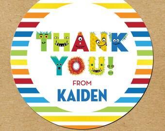 Boy Birthday Favors, Monster Birthday Stickers, Monster Favor Stickers, Monster Party Thank You Stickers,