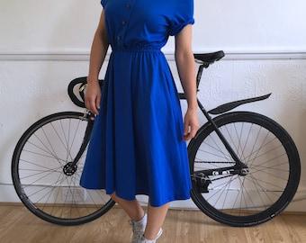 Vintage dress in vibrant blue. Size S. UK size 8. 80's era.