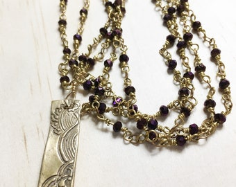 Purple Crystal Bead Rosary Chain Necklace with Pendant, Rosary Chain with Pendant, Purple Chain with Pendant, Rosary Chain with Pendant