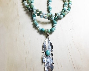 Turquoise Beaded Necklace, Beach Necklace with Pendant, Beach Necklace,Beach Jewelry, Turquoise Beaded Necklace with Silver Feather Pendant