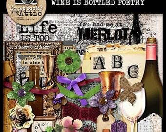 Wine Is Bottled Poetry digital scrapbook kit full