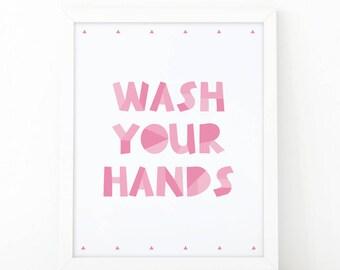 Wash your hands, Art for Kids, Nursery wall art, Digital Download, Toilet Sign, nursery, Bathroom Print, Nursery Print, Educational print