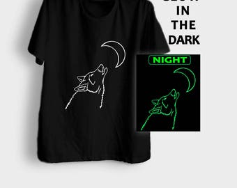 Wolf shirt animal tshirt howling wolf t shirt glow in the dark hipster graphic tee mens womens wolf shirt size XS S M L XL