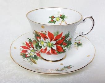 Poinsettia Cup and Saucer, Royalty Noel Teacup and Saucer, Poinsettia Tea Cup & Saucer, Vintage Bone China, Noel Teacup Christmas Gift