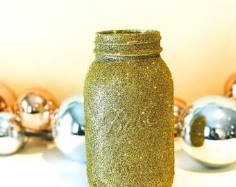 Gold Glitter Jar, Gold Mason Jar Centerpiece, Gold Centerpiece, Wedding Centerpiece