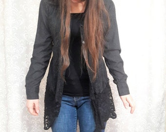 Black lace steampunk jacket, Black Jacket, Black lace upcycled jacket, eco jacket