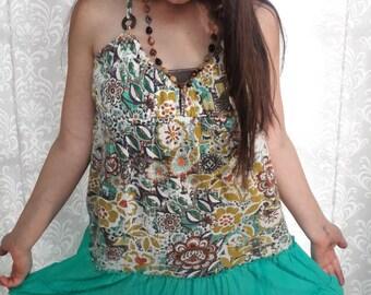 Boho Hippie Dress, Turquoise and Floral Hippie Dress, Boho Halter Dress, Upcycled Dress, Eco friendly festival dress, festival clothing
