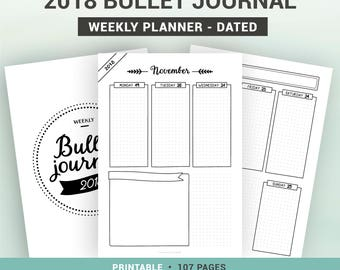 2018 BULLET JOURNAL - printable weekly planner - dated agenda - 1 week on 2 pages - A5, A4, Us Letter, Half letter