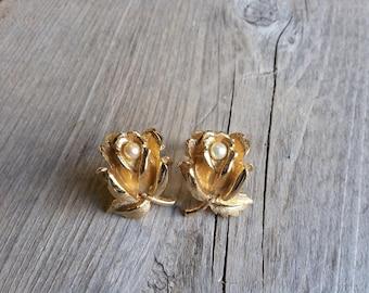 Boucher Flower of the Month Rose Earrings-Vintage Boucher Gold Rose Earrings-Boucher Pearl and Gold Flower Earrings-Free Shipping