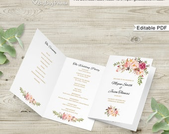 Wedding Program Template, Ceremony Program Printable, Folded Wedding Program Printable, #A008-1, Editable PDF - you personalize at home.