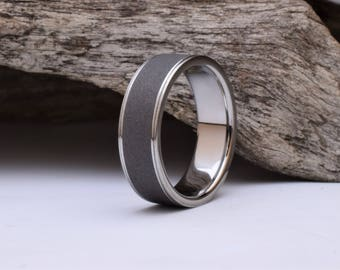 Titanium ring with a sandblasted center band, mens titanium wedding ring mens, his or hers wedding ring, womens titanium wedding band