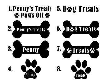 Custom Dog Bone Vinyl Decal- Dog Name Decal - Dog Bone Decal - Dog Bowl Decal - Dog Treats - Paw Print Decal - Cat Name Decal