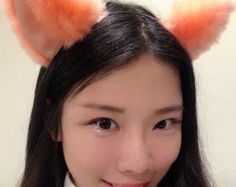 Cat ears Kitty Head wear Light Orange Furry Animal Headband Costume Bow Bells