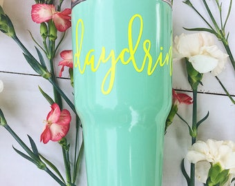 daydrinkin Stainless Steel Mint and Neon Yellow Tumbler 30 oz