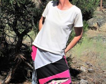 T-shirt skirt, Upcycled, Upcycled skirt, Hawk Skirt, Women's small, Pink and black skirt, Montana Threadscape