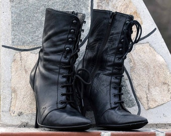 Vintage womens leather boots, Black leather boots, Stylish leather boots, Vintage boots, Elegant womens boots, Ladies boots with heels