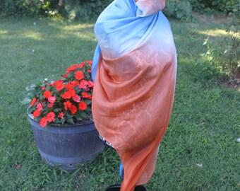 The Veil of Arrakis, copper and blue Silk Bellydance Veil