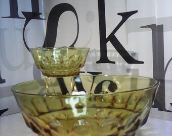 Vintage Hazel Atlas Glass Atc7 Reflection Amber Chip Dip Bowl Metal Holder   FREE SHIPPING